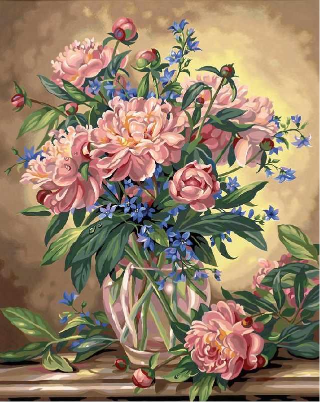 SG162 Пионы в вазе - мозаика из страз (Цветной)