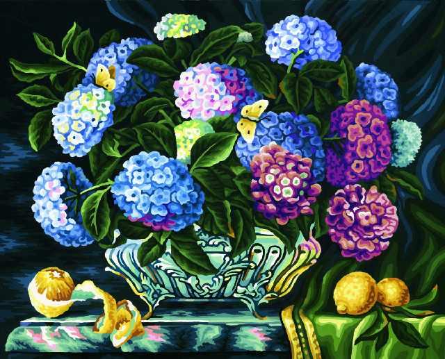 SG175 Гортензия - мозаика из страз (Цветной)