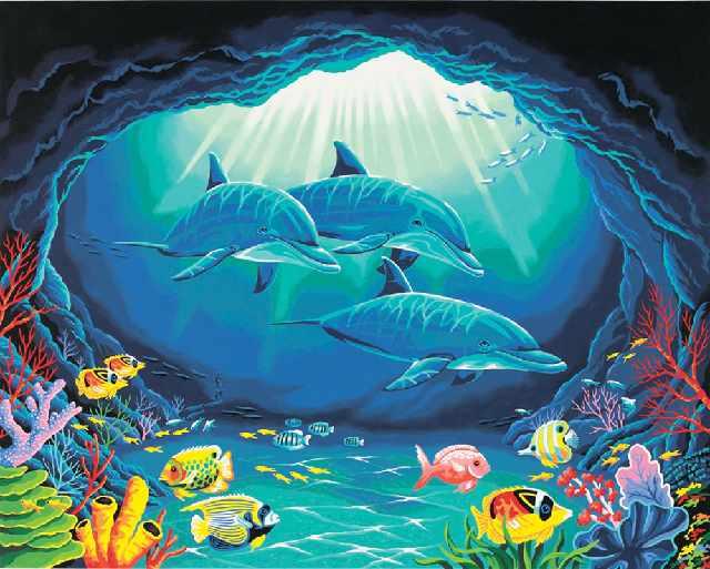 SG199 Дельфины в подводной пещере - мозаика из страз (Цветной)