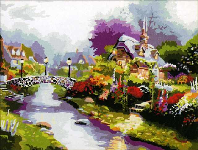 SG218 Цветущий городок - мозаика из страз (Цветной)