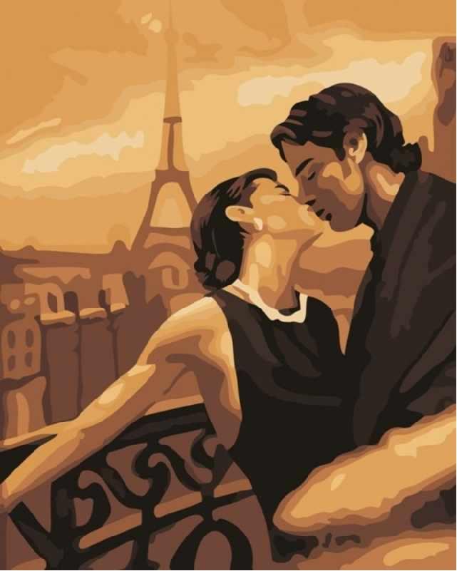 SG222 Поцелуй в Париже - мозаика из страз (Цветной)
