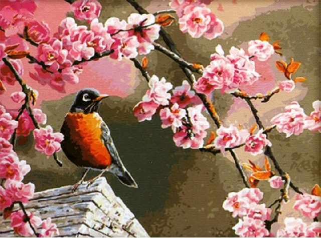 SG246 Птичье акварелье - мозаика из страз (Цветной)