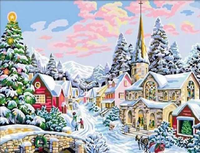 SG300 Зимний городок - мозаика из страз (Цветной)