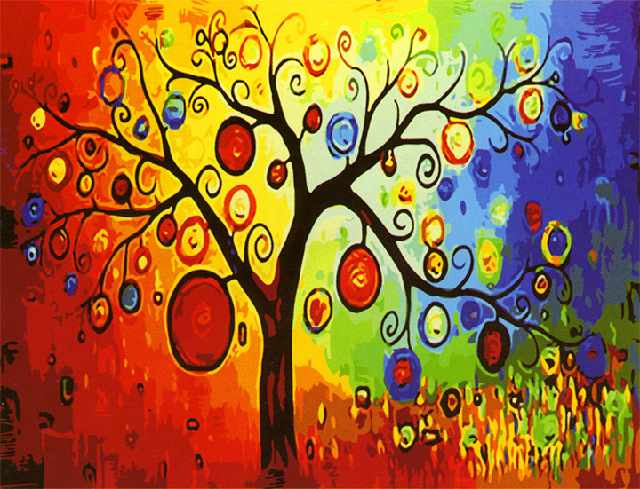 SG504 Абстракция дерева - мозаика из страз (Цветной)
