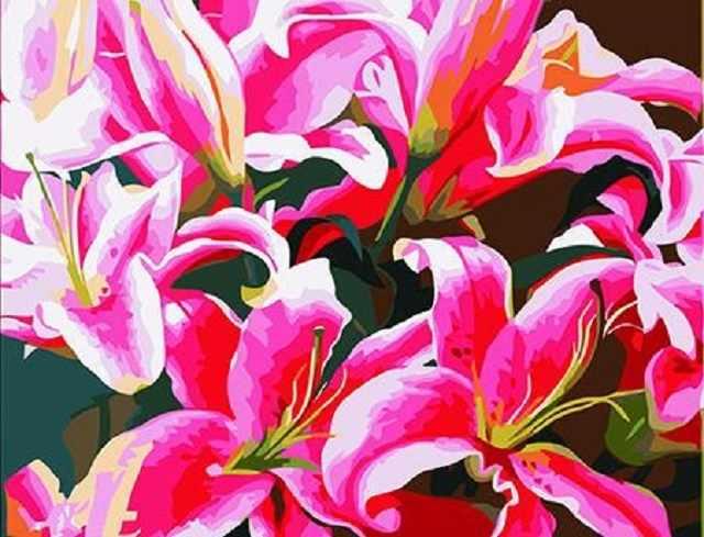 SG513 Розовые лилии - мозаика из страз (Цветной)