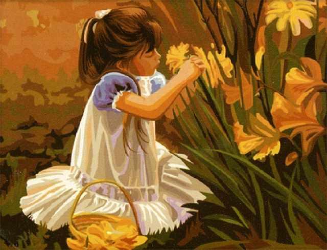 SG568 Девочка с цветами - мозаика из страз (Цветной)