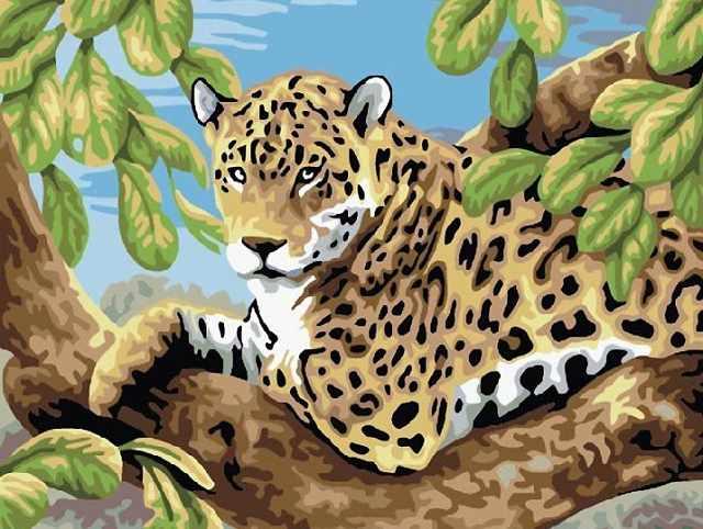 SG583 Леопард - мозаика из страз (Цветной)