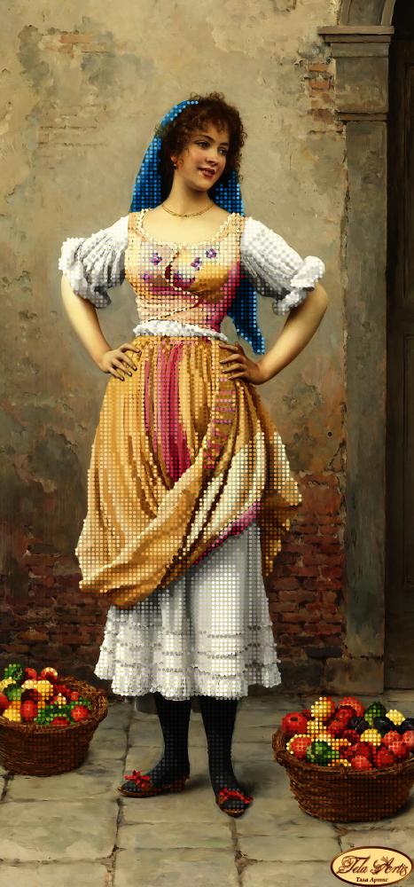 ТА-222 - Девушка с фруктами - схема (Tela Artis)