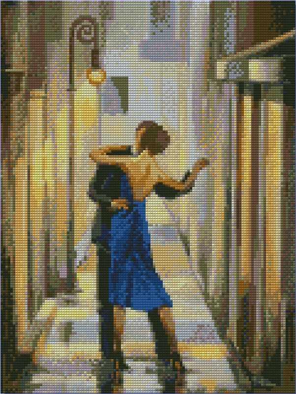 Танец в переулке (АЖ-1304) - картина стразами