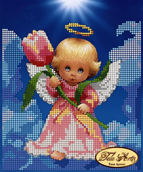 ТМ-019 - Ангелочек с тюльпаном - схема (Tela Artis)