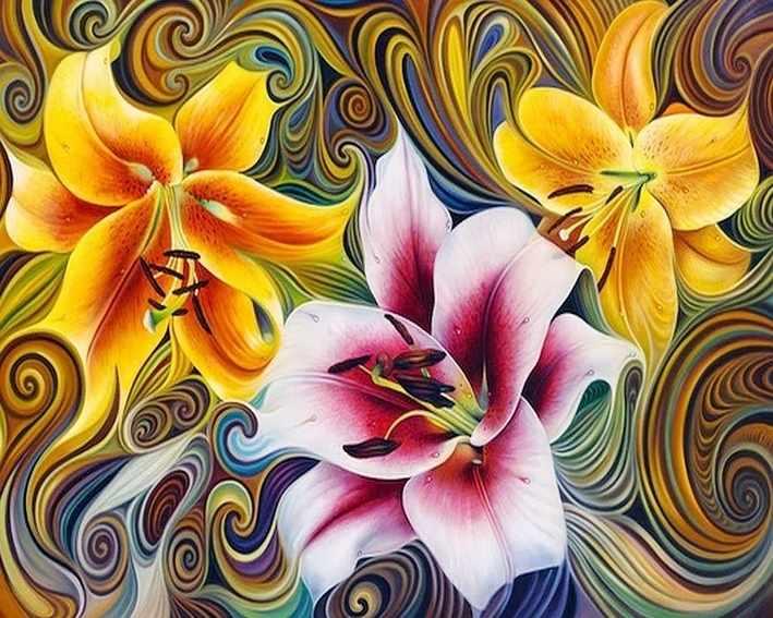 Три лилии (АЖ-1394) - картина стразами