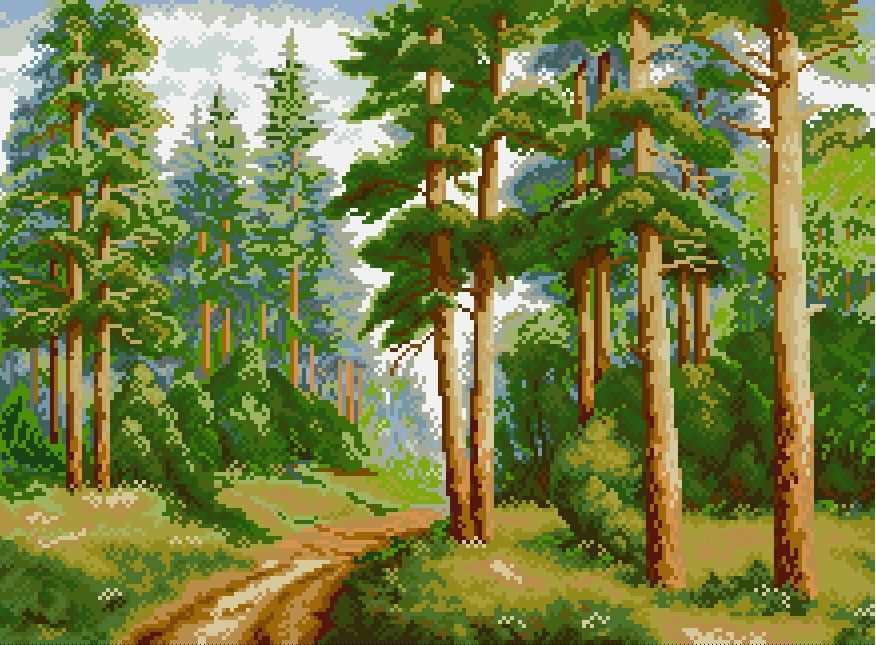 В сосновом лесу (АЖ-1038) - картина стразами