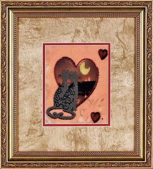 В1032 Валентинка - кошки - рисунок на атласе (Alisena)