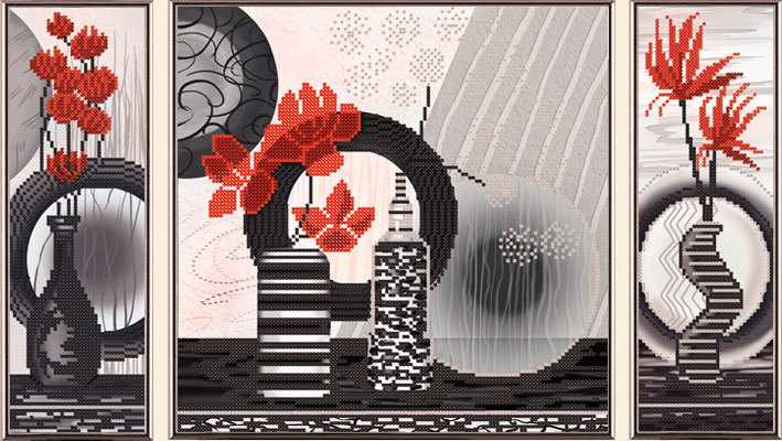 В32005 Красные цветы (рисунок на ткани)