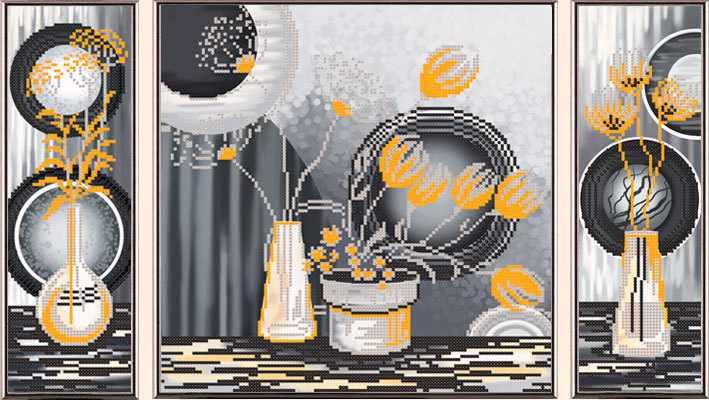 В32006 Желтые цветы (рисунок на ткани)