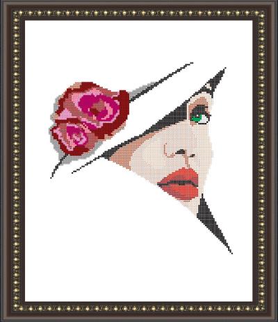 VKA3016 Девушка в шляпе - схема (Art Solo)
