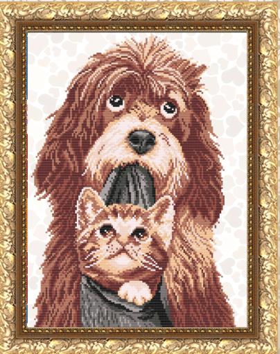 VKA3055 Собака с котенком - схема (Art Solo)