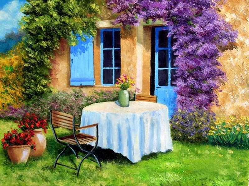 Уютный дворик (АЖ-1339) - картина стразами