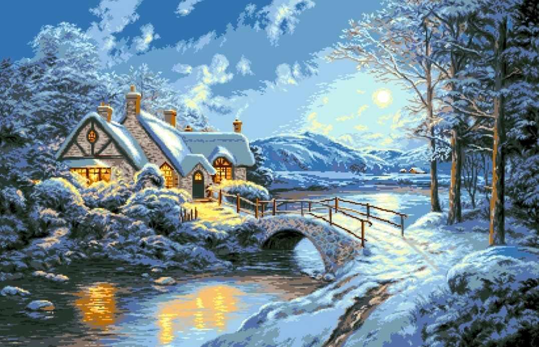 Зимняя ночь (АЖ-475) - картина стразами