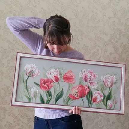 Тюльпаны риолис вышивка резиновая нитка купить