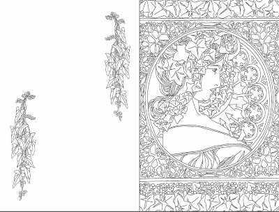записная книга раскраска Artbook ар нуво зеленая