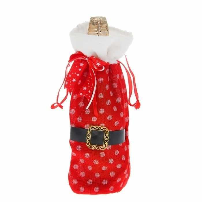 """1052802 Одежда на бутылку """"Дед Мороз"""", в горошек"""