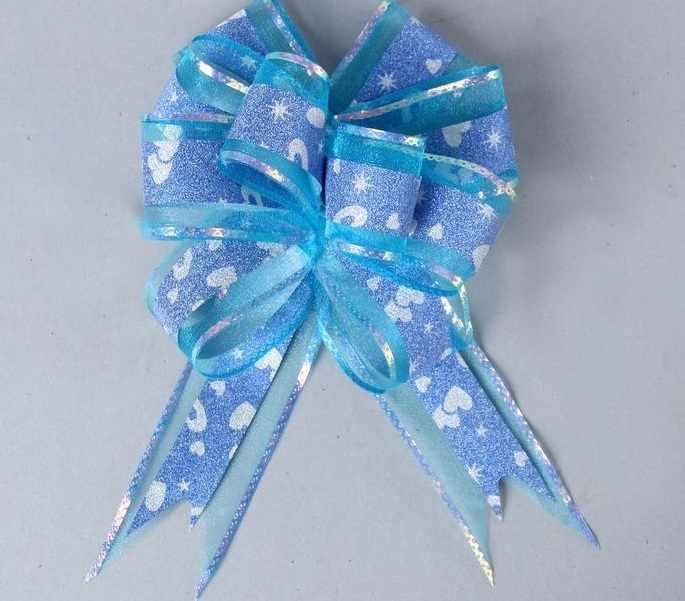 "1112801 Бант-шар №5 ""Сердечки"", цвет голубой"