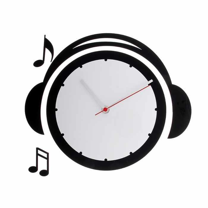 """118706 Часы настенные детские """"Плеер"""", чёрно-белые"""