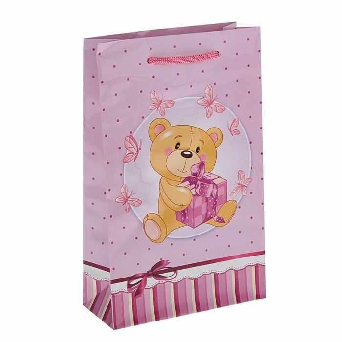 """1431833 Пакет подарочный """"Пушистик"""" розовый"""