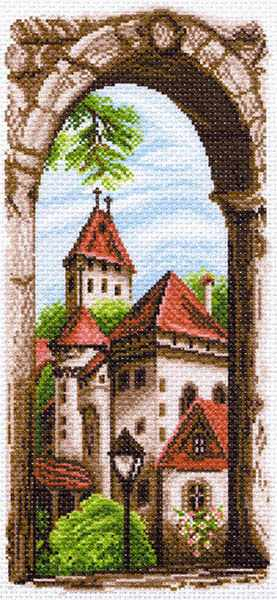 1497 Крыши старого города - рисунок на канве (МП)