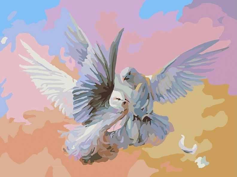 159-AS Полет белых голубей - раскраска (Белоснежка)
