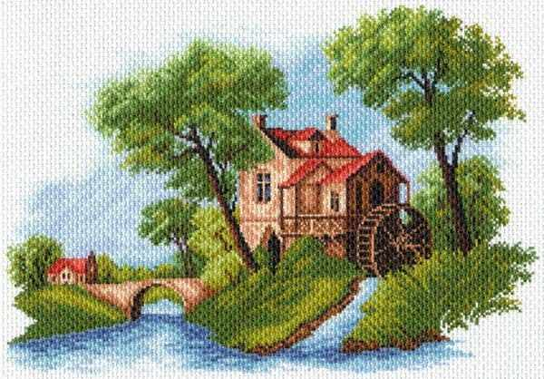 1614 Голландский пейзаж -  рисунок на канве (МП)