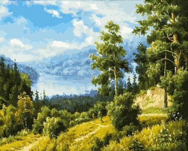 166-AB Лесной пейзаж - раскраска (Белоснежка)
