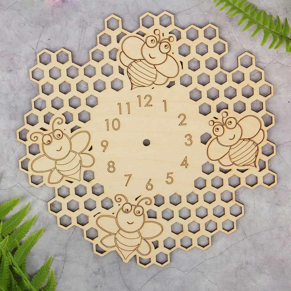 """2384966 Основа для часов из фанеры """"Веселые пчелки"""""""