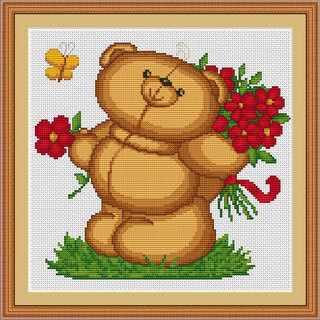 B0171 Плюшевый мишка с цветами (Luca-S)