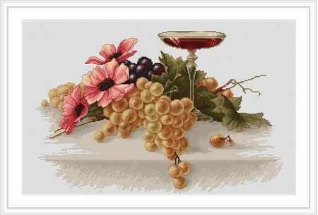 B0214 Цветы и виноград (Luca-S)