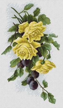 B2230 Желтые розы со сливами (Luca-S)