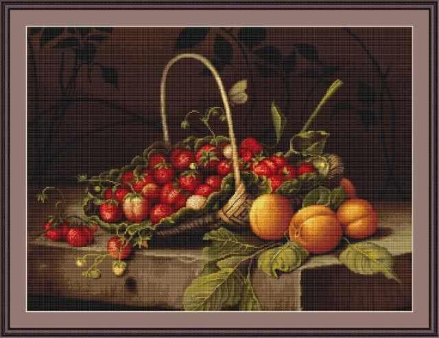 B0487 Корзина с клубникой и персиками (Luca-S)