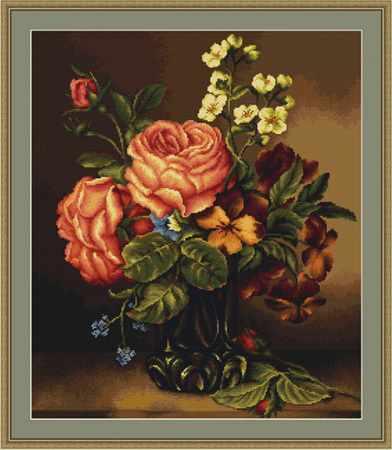 B0491 Ваза с розами и цветами (Luca-S)