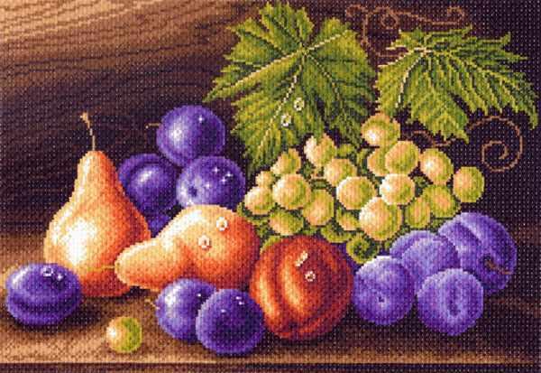 1414 Фруктовая композиция - рисунок на канве (МП)
