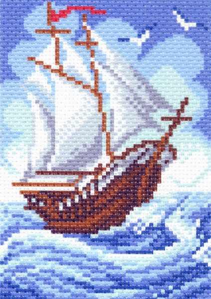 1438 Кораблик - рисунок на канве (МП)