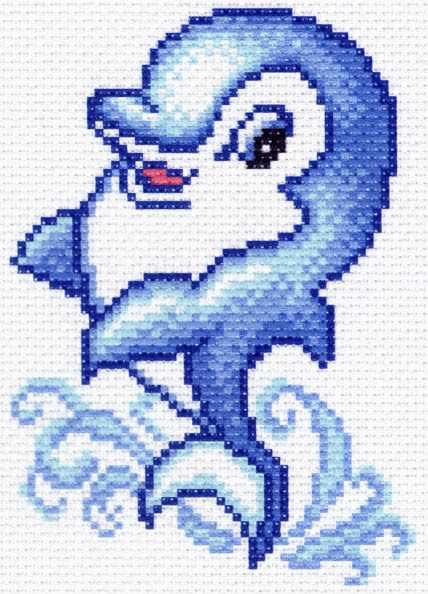 1452 Дельфинчик - рисунок на канве (МП)