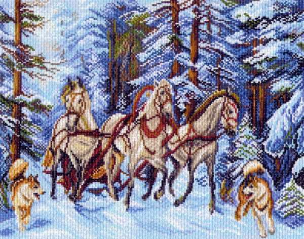 1503 Мчится тройка - рисунок на канве (МП)
