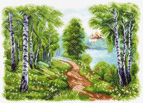 1513 Храм у озера - рисунок на канве (МП)