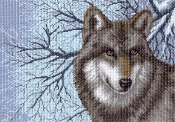 1538 Волк - рисунок на канве (МП)