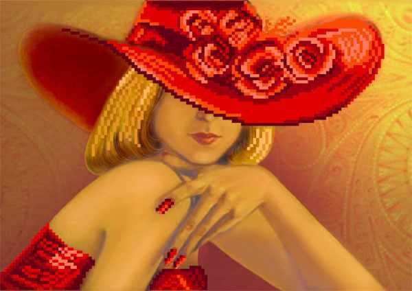 4108 Дама в красном - схема для вышивания (Матрёнин посад)