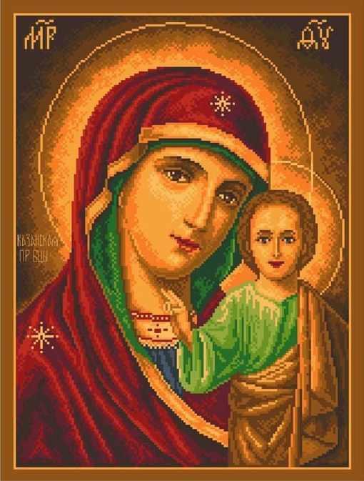 537 Божья Матерь Казанская - рисунок на канве (МП)
