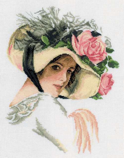 M098 Девушка в шляпе с розой