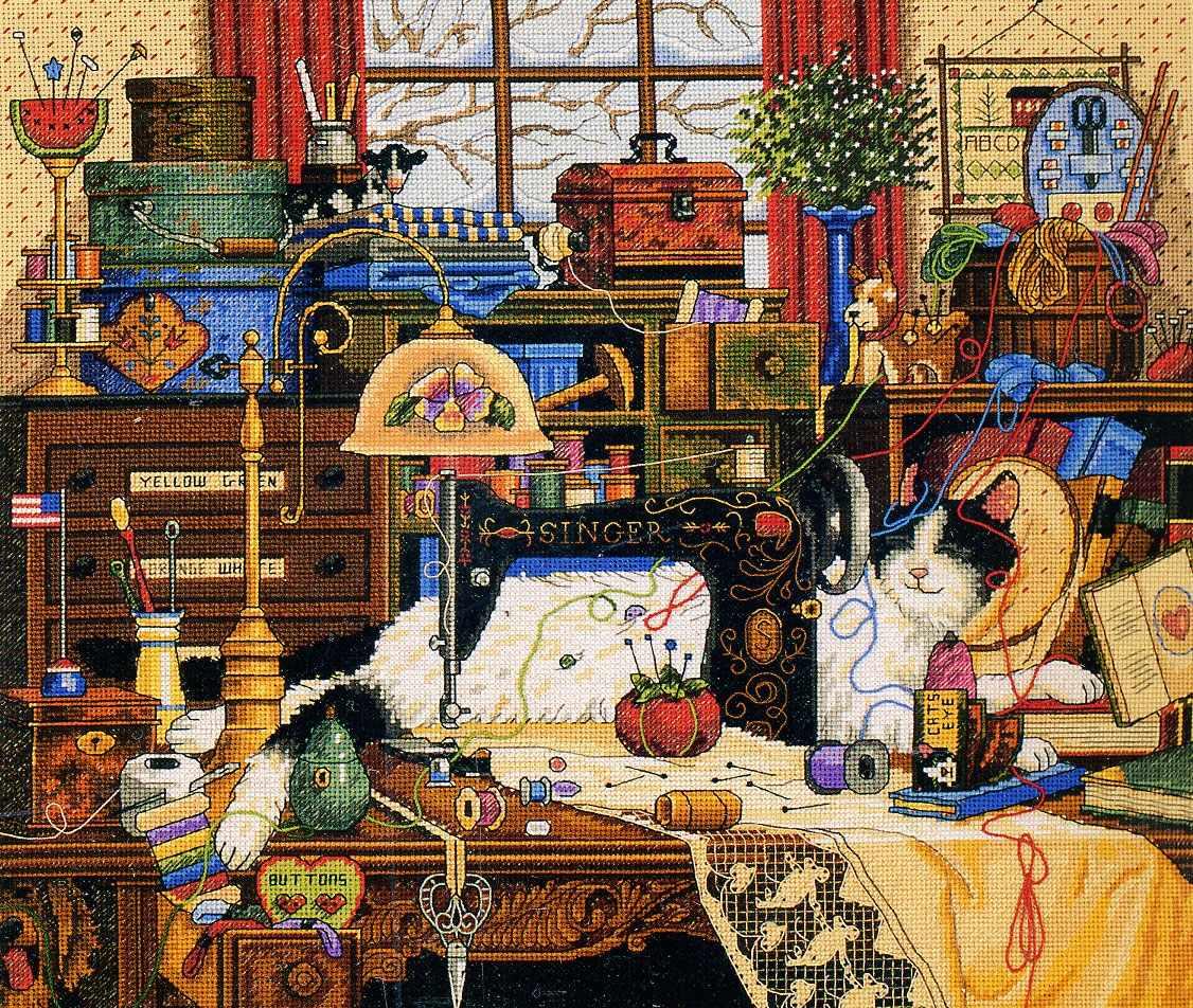 3884-DMS Кот в швейной комнате