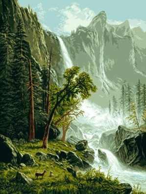 0669 Пейзаж с водопадом